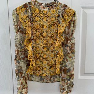 Zara - EMBROIDERED FLORAL PRINT BLOUSE
